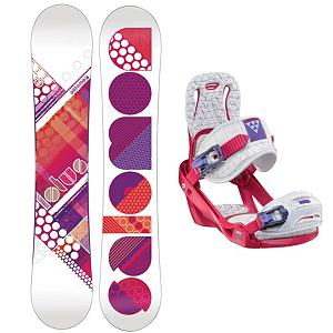 Snowboard Salomon Lotus Womens Snowboard and Binding Package 2013 - User-friendly for the fresh new snowboarder, the Salomon Lotus Snowboard Package has all you need to get acquainted with the mountain and learn all the skills. Whether you dream of carving into the black diamonds or floating on powder, the Salomon Lotus Snowboard is the one. It offers easy turning and smooth riding with an easy flex. It has a twin directional shape so you can start working on some tricks for the park as well. The Salomon Celeste Bindings are all about progression so you can feel like a pro every day you're on the mountain. It's lightweight with a freestyle flex so you can work on your best tricks. Women Specific Geometry matched with 3D Prime Core Straps give women a complete unified fit between boot and binding and you'll have plenty of support and comfort thanks to the EVA Pads. This versatile and fun Salomon Lotus Snowboard Package is great for any gal who is all about having fun when the snow falls. . Recommended Use: All-Mountain, Snowboard Rocker Profile: Flat, Package Type: Board and Bindings, Model Year: 2013, Product ID: 305400, Gender: Womens - $299.99