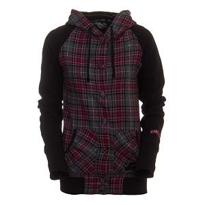 Ski Ride Plaid Snap Up Womens Hoodie - The Ride Plaid Snap Up Hoodie provides the comfort you crave with a uniquely feminine style. The durable poly/wool blend fabric is toasty warm and conveniently low maintenance so you can rock it with just about anything in your wardrobe. A plush Sherpa lined hood and custom snaps up the front complete the easy, go-with-the-flow laid back look. With a Ride chenille patch on the sleeve and embroidered logo on the hand warmer pockets the Snap Up hoodie shows your down for the Ride. . Hood Type: Fixed, Material: 70% Polyester/30% Wool Blend, Fleece Weight: Mid, Category: Mid-Weight, Hood: No, Warranty: Other, Battery Heated: No, Closure Type: Hooded, Wind Protection: Yes, Type: Hoodies, Weatherproof: No, Material: Wool/Synthetic Blend, Pockets: 1-2, Wicking Properties: No, Sleeve Type: Long Sleeve, Water Resistant: No, Model Year: 2011, Product ID: 248386, Shipping Restriction: This item is not available for shipment outside of the United States., Model Number: R103510152, GTIN: 0714636561520 - $29.91