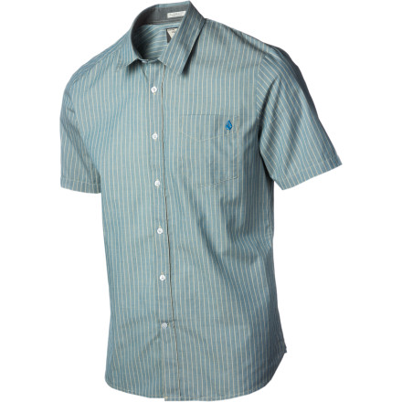 Surf Although it's easy to assume the smooth look of the Volcom Men's Ex Factor Stripe Shirt will become the 'X' in your dinner, movie, and eventual score equation, it's not. - $26.97