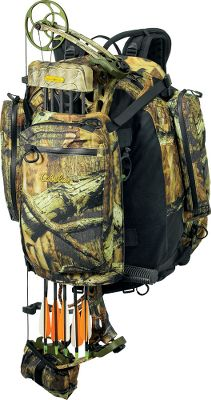 Hunting All-Season mobility and convenience Secure any bow, crossbow or rifle to your pack and keep both hands free. Redesigned for lightweight efficiency, this pack features a suspension system that maximizes support, creates structure and offers all-day comfort, and its curved design allows natural airflow between your back and the pack. The durable shell is constructed of CT450 Plus. This ultrasoft material remains quiet in any temperature or condition, and its low-nap finish will not collect burs or other clingy vegetation. The generous main compartment easily accommodates bulky items. Two side pockets, one with a pass-through design, holds shooting sticks or a collapsible hiking staff. The fold-out bow-cam/buttstock support secures the lower cam of your bow or buttstock of your rifle and adjusts to fit even a long muzzleloader or recurve. The padded compression pod holds your bow or rifle securely in place and can be removed for use as a day pack. It also contains an organizer panel and a hideaway blaze orange safety panel. Features YKK water-resistant zippers, a molded back panel, a padded hip belt and contoured shoulder straps with nonslip panels. Imported.Main compartment dimensions: 20H x 13W x 7D.Capacity: 2,400 cu. in.Wt: 4 lbs. 1 oz.Camo patterns: Seclusion 3D, Mossy Oak Break-Up Infinity, Realtree AP. - $99.88