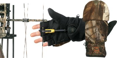 Entertainment An exclusive bow-release collar in these gloves lets hunters wear their favorite release next to the skin while still protecting hands from the elements. Bowhunters know that wind, rain, snow and cold can stress hands and degrade grip strength, especially when holding at full draw and waiting for the right moment to release. The Convertible Gloves have fleece shells with leather palm patches and 40-gram Thinsulate Insulation. Heat-pack pocket for extreme cold. Imported.Sizes: M-XL. Camo pattern: Realtree AP . - $29.99