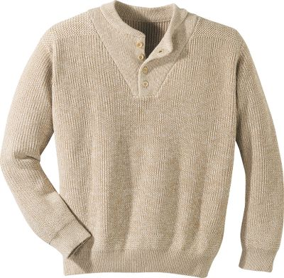 Cabela's Cotton Fatigue Sweater offers a taste of vintage, military-inspired style. This comfortable classic, with its distinctive cut and button-front versatility, is now available in an updated model that retains the superior fit of the original, plus the comfort that can only come from pure 100% cotton. The rib-knit, double-thick placket includes stylish wooden buttons. Imported. Tall sizes: L-2XL.Colors: Charcoal, Deep Pine, Oatmeal, Deep Wine. - $29.99