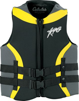 Wake This two-buckle vest is made of four-way-stretch 2mm neoprene. USCG-approved Type-III PFD. Imported. Sizes: S-2XL. Colors: Yellow, Red. Type: Flotation Vest. Size 2xl. Color Red. - $39.88