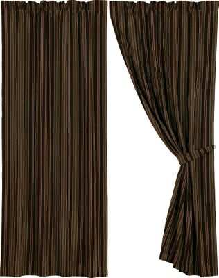 Entertainment These drapes feature a warm and inviting striped palette of fern green, chocolate, rust and cream in cozy 50/50 polyester/cotton corduroy. Dry-cleaning is recommended. Per each. Imported.Dimensions: 84L x 48W. - $69.99