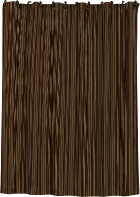 Entertainment This shower curtain features a warm and inviting striped palette of fern green, chocolate, rust and cream in 50/50 polyester/cotton corduroy. Includes fabric-covered shower-curtain rings. Dry-cleaning is recommended. Per each. Imported.Dimensions: 72L x 72W. - $89.99