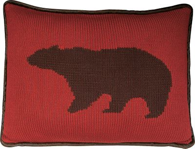 Hunting Perfect for accenting any rustic home or cabin furnishings, these decorative pillows feature knit silhouettes of some of North Americas most recognizable big game. Reverse side of pillow is made of polyester faux-leather. 50/50 polyester/cotton. Dry-cleaning is recommended. Per each. Imported.Available: Bear Pillow Burgundy knit with a chocolate-brown bear.Dimensions: 21L x 16W.Moose Pillow Dark-brown moose knit into a cream background.Dimensions: 21L x 16W.Deer Pillow Majestic buck knit into an olive green background.Dimensions: 17L x 17W. - $49.99