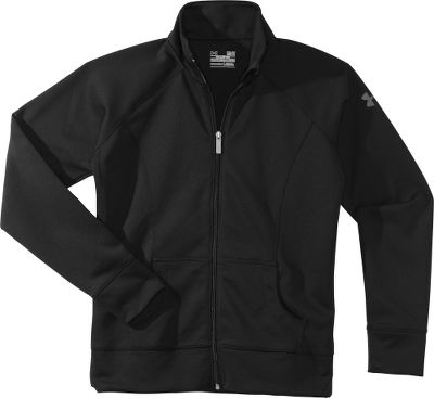 Fitness Perfect for athletic activity in cool weather, this semifitted AllSeasonGear jacket is constructed of a lightweight, four-way-stretch fabric that moves with you. Crafted of 6.2-oz. 100% knit polyester, the Craze Jacket delivers the moisture-wicking, quick-drying and breathable performance you crave. Front kangaroo-style pocket. Zipper garage at neck. Contrasting logo on left arm adds sporty style. Imported.Sizes: S-XL.Colors: Black/Black, Black/Playful. Type: Jackets. Size: Large. Color: Black/black. Size Large. Color Black/Black. - $44.88