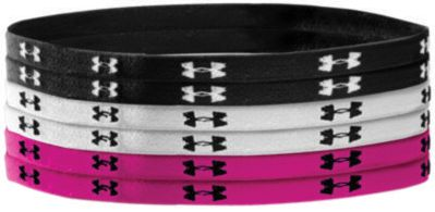Fitness These Under Armour elastic headbands hold those flyaways back, whether youre working out or running errands. Silicone-covered Jacquard UA logos gently keep the headband in place. Set of six; two of each color. 3/8 wide. Imported.Colors: Black, White, Tropic Pink. - $9.99