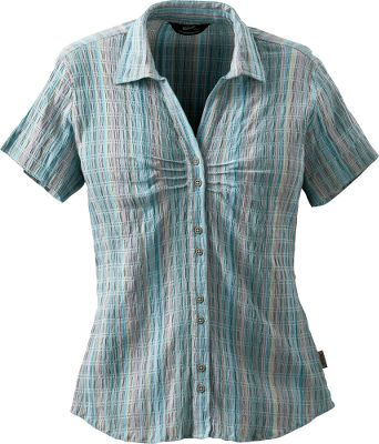Boulder-washed cotton gives a broken-in look and feel, while woven-in spandex provides a clean, form-flattering fit with just the right amount of stretch. Button cuffs and a curved hem add a little extra feminine flair. UPF rating of 20. 98/2 cotton/spandex. Imported.Center back length for size Medium: 26.Sizes: S-2XL.Colors: Seasalt, Sky, Aqua, Orchid, Papaya. Type: Short-Sleeve Shirts. Size: Small. Color: Seasalt. Size Small. Color Seasalt. - $9.88