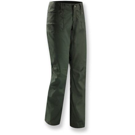 Not your average office khaki, the Arc'teryx Cheema pants upgrade casual pants to adventure-ready pants with key features like articulated knees and fully gussted crotch that maximize performance. Textured cotton canvas with a touch of spandex gives the Cheema pants a comfortable fit. Front panel pockets with inset coin pockets stow small valuables; 2 back patch pockets add extra space. - $49.83