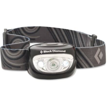 Camp and Hike The Black Diamond Cosmo headlamp is a great choice for night hikes, route finding and general campsite use. 1 central DoublePower LED throws light a maximum distance of 33m; 2 proximity LEDs throw light 6m for activities around camp. High-quality lens tunes the light output and shape of the beam to make the Cosmo ideal for general outdoor use. Use the on/off button to navigate from the bright DoublePower LED, to the 2 proximity LEDs and then to the strobe function. Fine-tune your lighting needs with the dimming switch-simply hold down the on/off button to activate dimmer. Streamlined design sets the beam at an efficient illumination angle; ratcheting swivel head aims light where you need it. Compact design fits securely around the head with an adjustable elastic band that won't pull hair. 3 AAA batteries (included) provide up to 250 hrs. of use on low and 50 hrs. on high; battery compartment is just behind LEDs for a compact design. Closeout. - $19.93