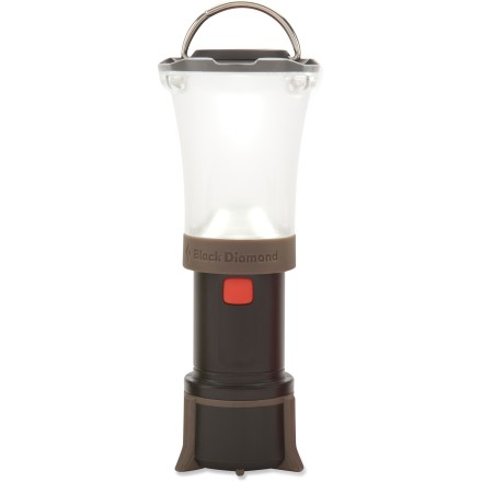 Camp and Hike The Black Diamond Orbit lantern brings bright light to your backcountry adventure without weighing you down. DoublePower LED with frosted globe creates bright, non-glaring light; dual reflectors effectively capture and distribute light. LED puts out 45 lumens on high and 10 lumens on low; illuminates an area approximately 13 ft. in diameter on high. Fine-tune your lighting needs with the dimming switch-simply hold down the on/off button to activate dimmer. Collapsible design saves space in your pack and protects on/off button from accidental activation. Unique double-hook hanging system on top provides a simple and secure thread-through or clip-in attachment point for string, fabric loops or branches. Rubber feet stabilize lantern when set on table or ground. Runs on 4 AAA batteries, not included; base of lantern unscrews to reveal battery compartment. Closeout. - $21.73