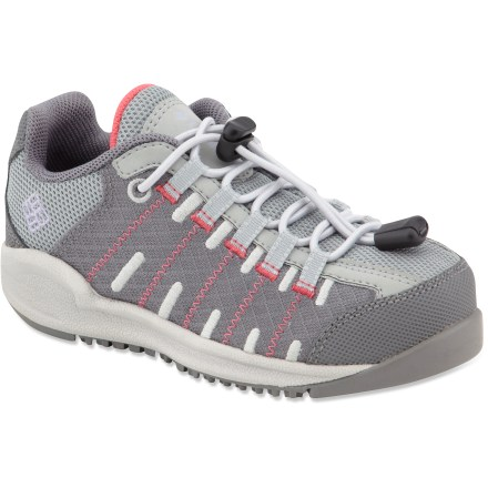 For young explorers who need shoes that are trail tested and tough, the Columbia Youth Master Fly trail shoes give them the comfort they need and the quality to last a long time. Closed mesh uppers with welded-seam technology let little feet breathe while keeping out the dirt. Techlite(R) midsoles for lightweight cushioning and support. Omni-Grip(R) rubber soles provide a solid grip on uneven surfaces. Columbia Youth Master Fly trail kids' shoes feature a toggle system that tightens laces with 1 pull; the youth shoes feature traditional style laces. Closeout. - $14.73