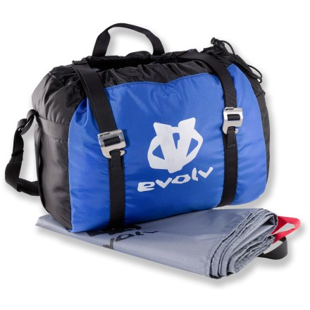 Climbing A rope bag with a tarp is for more than just transporting a rope. It also keeps your cord away from dirt and moisture on the ground. Protect your investment with the evolv Rope Caddy rope bag. - $15.83