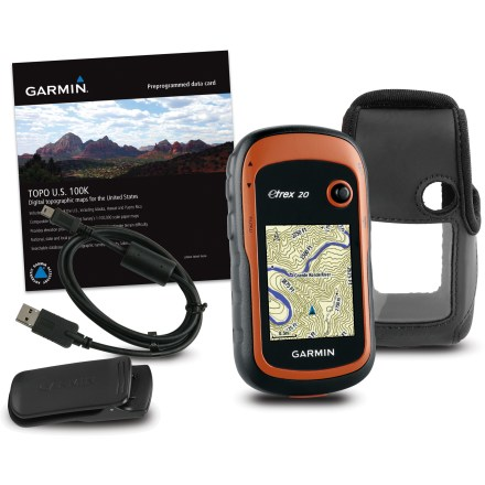 Camp and Hike This value-priced bundle combines the eTrex 20 GPS with a TOPO U.S. 100K preprogrammed card, case and PC cable. - $161.93