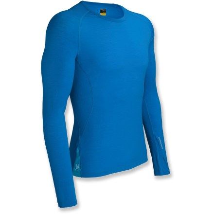 The Icebreaker GT Technical 150 Relay crew top is built to help keep you warm during active endeavors in cool weather. The Icebreaker GT Technical 150 Relay crew top is close fitting and highly breathable for year-round wear. Made of soft, non-irritating merino wool, this Icebreaker top dries quickly and resists odors naturally. Merino wool wicks away moisture and breathes to regulate temperature for outstanding comfort in a variety of conditions. With a UPF rating of 50+, fabric offers very good protection from UV light. Raglan sleeve construction allows unhindered shoulder movement; thumbholes in the sleeves help keep hands and wrists warm. Flat seams reduce chafing. Machine washable. - $55.93