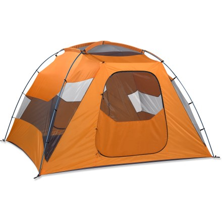 Camp and Hike The Marmot Limestone 6P family tent has plenty of room for 6 people and their gear. Perfect for weekend camping trips, it has large doors and even has a door mat! - $230.83