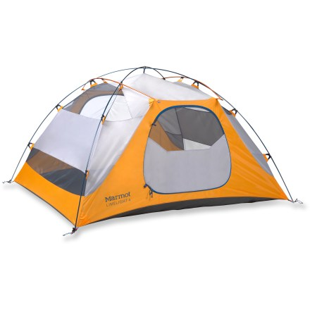 Camp and Hike The Marmot Limelight 4P tent offers 4 backpackers a comfortable space and tough yet lightweight construction. Limelight also offers great value as it comes complete with footprint and gear loft! - $274.93
