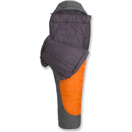 Camp and Hike This full-feature synthetic mummy bag compresses down small and provides excellent warmth for cold-weather adventures. If things turn wet, not to worry; this bag keeps you warm even when damp. - $103.93