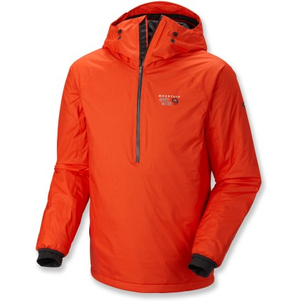 "Built for the cold-weather athlete, the Mountain Hardwear Quasar Insulated pullover jacket battles the elements with durable synthetic insulation and a waterproof yet breathable exterior. Dry.Q(TM) Elite fabric's air-permeable membrane allows air and moisture to pass outward through the fabric so you stay dry on the inside as well as the outside. Dry.Q Elite doesn't wait for you to overheat before the breathability kicks in; instead it starts from the minute you pull it on so you stay comfortable from start to finish. Watertight zipper opens to mid-chest for venting and temperature regulation; pullover style enhances insulation by keeping it uninterrupted around the core. Thermic Micro(TM) synthetic insulation provides warmth from thermally efficient fibers that are durable, lightweight and structurally stable for increased heat retention. Two internal pockets are sized to store water bottles so you can keep your essentials close. Drawcord at hem seals in warmth and keeps wind and rain from sneaking in. Mountain Hardwear Quasar pullover features ""butter jersey"" cuffs that feel soft against skin. - $340.00"