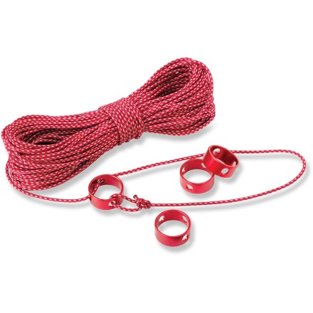 Camp and Hike The MSR Ultralight Utility Cord kit is ideal for hanging food and guying tarps.  The 1.8 mm knot free nylon cord  includes 32 ft. (10 m.) of reflectivity to help you find your guy lines in the night. - $19.95