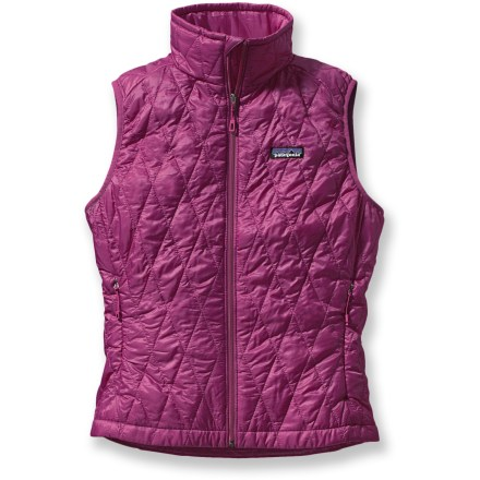 The women's Patagonia Nano Puff vest is wind- and water-resistant and highly compressible. Wear it as a warm layer in cold conditions or as a wind-protective layer during high output activities. - $59.83