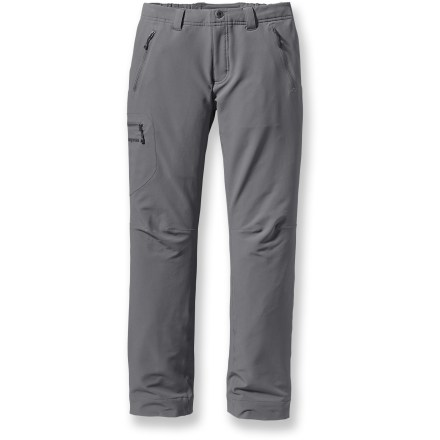 Camp and Hike The women's Simple Guide Pants from Patagonia are lightweight, stretch-woven alpine pants with excellent breathability and a fast dry time. Stretch-woven soft-shell fabric wicks moisture, and is weather- and abrasion-resistant; Durable Water Repellent finish sheds light precipitation. Partially elasticized waistband with a zippered fly, button closure and belt loops. Articulated knees ensure full mobility. 2 hand pockets, cargo pocket and rear pocket have smooth, water-resistant, reverse-coil zippers. Patagonia Simple Guide Pants with a slim-fitting cut may be worn over base layers and light mid layers. - $68.93
