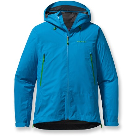 The men's Patagonia Super Cell Rain Jacket is the lightest-weight Gore-Tex(R) PacLite(R) shell in the Patagonia lineup and the ultimate in efficiency. 2-layer Gore-Tex PacLite nylon is engineered specifically to be light, streamlined, durable and super packable. Fabric is breathable, wind- and waterproof, making it ideal for active endeavors in challenging weather. Optimal Visibility Hood(TM) is helmet-compatible, 2-way adjustable hood with laminated visor ensures good visibility in poor conditions. Microfleece-lined neck and windflap provides next-to-skin comfort. Embedded cordlocks in hood and hem allow quick fit adjustments. Gusseted underarm panels let you extend your reach without raising the body of the jacket; panels sport watertight, coated pit zips for ventilation. Low-profile rip-and-stick gusset cuffs create a tight wrist seal. Harness- and pack-compatible pockets feature slim, watertight laminated zippers. The Patagonia Super Cell Rain Jacket has a regular fit for easy layering. - $269.00