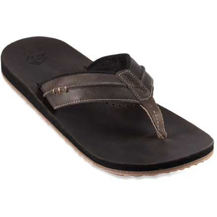 Surf Reef Marbea flip-flops feature sumptuous leather and cushy EVA construction to ensure your flip-flopping experience is an excellent one. Refined full-grain leather straps with soft, wicking polyester linings gently wrap insteps for a secure fit. Leather footbeds feel luxurious against skin. Triple-density EVA midsoles offer contoured arch support for an ergonomic fit and all-day cushioning. Nonmarking, grippy rubber outsoles on the Reef Marbea flip-flops deliver reliable traction on a variety of surfaces. - $24.83