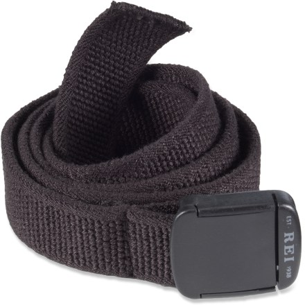 The REI Stretch belt has enough give to keep you comfortable and secure throughout the day. Plastic buckle holds belt at desired length. Belt measures 44 in. long, not including stretch. - $19.50