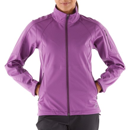 The REI Mistral soft-shell jacket is made for performance! With a water- and wind-resistant durable fabric, the sporty Mistral provides comfort during hikes, climbs and urban adventures. Bonded soft-shell fabric has a weather-resistant yet soft feel and a brushed backing that retains warmth; this breathable fabric lets you push the pace without overheating. Fabric blocks wind to 60 mph, while its 4-way stretch enhances comfort. Durable Water Repellent finish causes water to bead up and roll off, fending off light rain showers and snow. Interior windflap keeps wind from penetrating through front zipper. Drawcord hem seals in warmth. Handwarmer pockets feature zipper garages that deflect raindrops and secure zipper heads; zip pocket on upper left sleeve has a headphone port. The REI Mistral soft-shell jacket has an active, trim fit while still offering a full range of motion. - $82.93