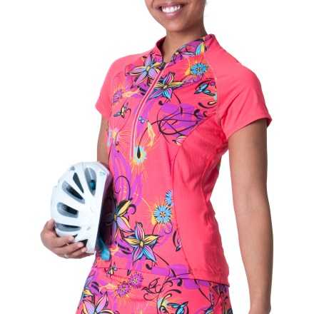 Fitness The SkirtSports Free Ride bike jersey has a fun, floral design and cycling-friendly features to keep you cool and comfortable on all your rides. Quick-drying polyester/spandex blend stretches with you, feels soft against your skin and efficiently wicks moisture. Mandarin collar adds an extra touch of style. Raglan sleeves offer nonbinding, seamless comfort at the shoulders. Back hem is slightly lower and has grippers to keep jersey in place. Hidden side pocket lets you stash small essentials; 2 deep pockets in back hold energy food and other items. Reflective accents help you stay visible in low light conditions. The SkirtSports Free Ride bike jersey features a semi-relaxed fit. - $37.83