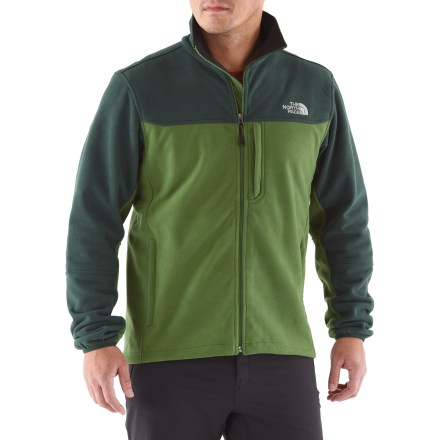Camp and Hike The North Face WindWall 2 men's jacket drastically reduces the effects of chilling wind and traps body heat to help keep you warm in wintry temperatures. WindWall 2 is made from 200-weight fleece and drastically reduces the effect of windchill on cold, windy days; ideal insulation when layered. WindWall 2 fleece fabric blocks around 95% of the wind yet still allows enough airflow to ensure a dry, comfortable fit. Abrasion-resistant panels on shoulders, sides and arms provide extra durability and a touch of contrast from the body of the jacket. WindWall 2 features a brushed fleece backer for warmth and uses a unique fabric-bonding process that allows limited external air permeability. Features brushed collar lining, elastic-bound cuffs and a drawcord hem. Features 2 zippered hand pockets and a Napoleon chest pocket. Standard fit ensures freedom of motion. - $73.83