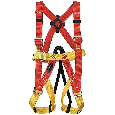 Climbing On Sale. Free Shipping. Camp USA Kids' Bambino Full Body Harness DECENT FEATURES of the Camp USA Kids' Bambino Full Body Harness Rock Climbing Pre-Threaded Auto-Locking Buckles One size fits all Recommended for children 3 to 8 years old not exceeding 85 lbs. The SPECS Chest Max: 86 cm / 34 in Legs Max: 64 cm / 25 in Weight: 365 g / 12.9 oz ALL CLIMBING SALES ARE FINAL. - $59.95