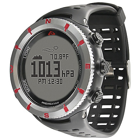 Free Shipping. Highgear Alti-XT Watch DECENT FEATURES of the Highgear Alti-XT Watch Rotating Bezel Button Lock Option Mineral Glass Lens EL Backlight 50m Water Resistant User Replaceable Battery The SPECS for Altimeter Displays in Feet or Meters Range: -1.640ft to +29.527ft / -500m to +9.000m Resolution: 3ft / 1m Minimum and Maximum Altitude Total Ascent and Descent Graphic Altitude Display Stores up to 80 Altimeter Logbooks with Data Recall The SPECS for Barometer Displays Sea-Level and Absolute Pressure in Millibar (mbar) / Hectopascal (hPa) or Inches of Mercury (inHg) Range: 300mbar (hPa) to 1.100mbar (hPa) / 8.86inHg to 32.48inHg Resolution: 1mbar (hPa) / 0.01inHg Graphic Pressure Trend Display Weather Forecast The SPECS for Digital Compass Range: 360deg / 16 Cardinal Point Bearings Resolution: 1deg Digital Compass Calibration Adjustable Declination Directional Heading Lock Cardinal North Indicator The SPECS for Thermometer Displays in Fahrenheit or Celsius Range: +14deg F to +140deg F / -10deg C to 60deg C Resolution: 0.1deg F / 0.1deg C The SPECS for Chronograph / Timer Range: 100 Hours Resolution: 1/100 Second Measures Splits 100-Hour Countdown Timer The SPECS for Time / Alarms Displays Time in 12-hour or 24-hour Format Time / Day / Date Worldtime with Daylight Savings Time Option Sunrise / Sunset Times 3 Advanced Alarms Hourly Chime - $129.95