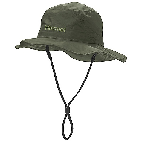 Marmot PreCip Safari Hat DECENT FEATURES of the Marmot PreCip Safari Hat Adjustable and Detachable Chin Strap Seamsealed for Waterproof Protection Floatable Magnetic Side Closure for Up or Down Brim The SPECS Weight: 3.03 oz / 85.9 g Lining: Dri-Clime 100% Polyester Lining 2.7 oz/yd 100% Polyester Mesh Lining 2.0 oz/yd PreCip 2.5 100% Nylon Ripstop 2.7oz/yd - $44.95