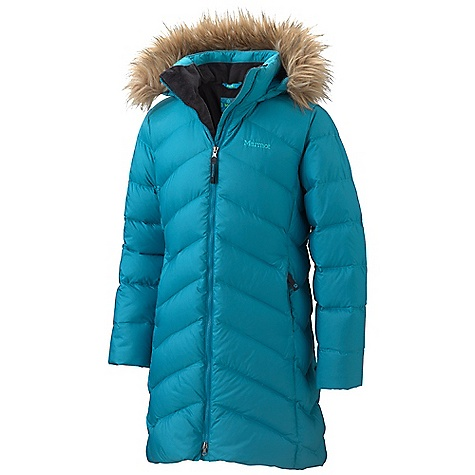 Features of the Marmot Girls' Montreaux Coat Attached Down Filled Hood with Removable faux fur Ruff Brushed Lined Zip Hand warmer Pocket Plush Fleece Lined Torso Micro Fleece Internal Cuffs - $174.95