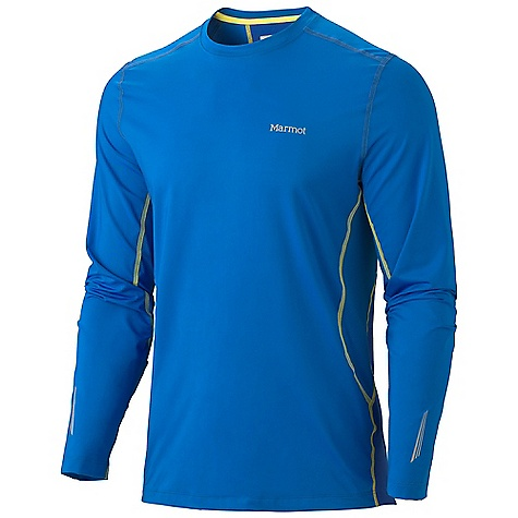 Free Shipping. Marmot Men's Stride LS Top DECENT FEATURES of the Marmot Men's Stride Long Sleeve Top Soft, Breathable, Light Weight Performance Knit Fabric Ultraviolet Protection Factor (UPF) 30 Quick- Drying and Wicking Contrast Flat - Locked Seams for Added Comfort Mesh Panels for Breathability Tag-Free Neckline Reflective Logos The SPECS Weight: 10.9 oz / 309 g Fit: Athletic Material: 82% Polyester 18% Elastane Mesh 5.0 oz/yd, 80% Polyester, 20% Elastane 5.3 oz/yd - $49.95