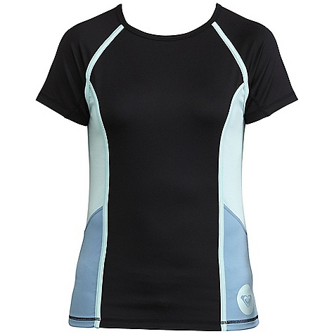 Surf Roxy Women's Wave Rush Rashguard DECENT FEATURES of the Roxy Women's Wave Rush Rashguard 92% Polyester 8% Spandex Polyester Spandex Jersey Solid short sleeve rashguard with colorblock side panels and screen print - $39.95