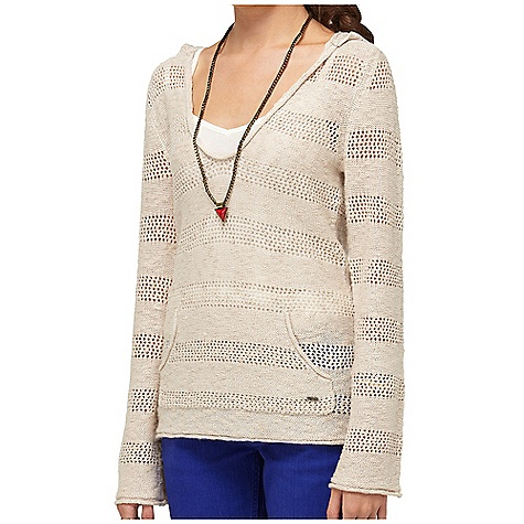 Surf On Sale. Free Shipping. Roxy Women's Gridley Pullover DECENT FEATURES of the Roxy Women's Gridley Pullover 69% Cotton 24% Acrylic 7% Polyester 3g v-neck pullover sweater with hood Kanga pocket and pointelle stitch at sleeve hem 25in. Hps - $46.99