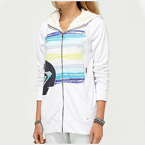 Surf On Sale. Free Shipping. Roxy Women's Ready To Start Hoodie DECENT FEATURES of the Roxy Women's Ready To Start Hoodie 60% Cotton 40% Polyester Fleece 260 gms Zip up sherpa hoodie with high neck and graphic screen print 28in. Hps - $41.65