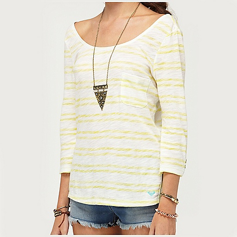 Surf On Sale. Roxy Women's Starlily Top DECENT FEATURES of the Roxy Women's Starlily Top 100% Cotton slub jersey 3/4 sleeve with reverse stripe print and snap placket detail at sleeve 24in. Hps - $28.99