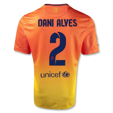 Sports Youth Barcelona DANI ALVES #2 Away Soccer Jersey 2012-13 Season