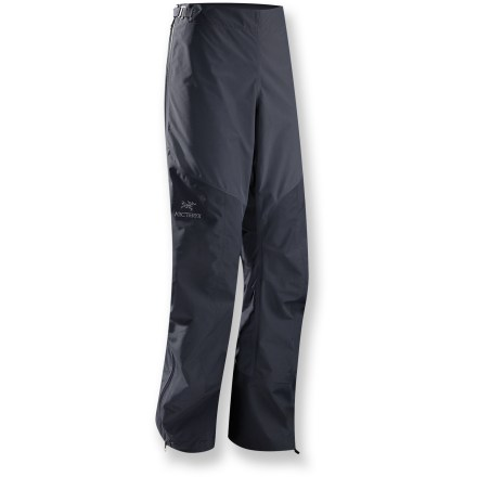 The best gear should help you reach the summit without distracting you or holding you back. The Arc'teryx Alpha SL pants do just that with high-performance materials and superior construction. Designed for those who truly believe less is more in the outdoors, Gore-Tex(R) PacLite(R) is durably waterproof and highly breathable. The lightest, most packable fabric from Gore-Tex PacLite uses a durable unlined membrane to keep you dry in the wettest conditions. High wear areas are reinforced with more abrasion-resistant face fabric for increased durability. Full side zippers offer easy on/off over boots, and are angled to improve moisture protection and snag resistance while opened for venting. Low profile waistband is adjustable from the rear; boot lace hooks and hem drawcords secure the pants to mountaineering boots. Arc'teryx Alpha SL pants feature laminated WaterTight(TM) zippers. - $259.00