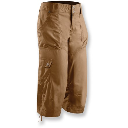 Enjoy traveling to exotic locations or weaving through the urban jungle wearing the Arc'teryx Rana Capri pants. Soft, lightweight canvas and a relaxed fit keep you comfortable during any adventure. Cotton/nylon blend creates a soft canvas fabric that breathes well; precise patterning and subtle articulation promote full range of motion. 2 hand pockets with volume pleats, 2 back pockets and 1 side cargo pocket provide plenty of space for carrying necessities. Rivets reinforce vulnerable points; wide waistband lies flat and secures with 2-button snap fly. Arc'teryx Rana Capri pants feature drawstrings at hems, allowing customized fit. - $61.93