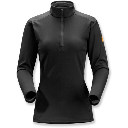 The women's Arc'teryx Phase SV zip-neck top is the warmest of Arc'teryx base layers made for stop-and-go activities in cold conditions. Specially designed fabric wicks moisture and keeps you cool during high-output activity; when you're resting, the fabric dries quickly and helps regulate temperature. Fabric is specially treated to keep unpleasant odors in check. Gusseted underarms provide a full range of motion. Half-length front zipper allows ventilation when your activity level increases. Closeout. - $40.73
