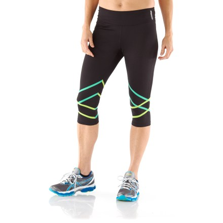 Fitness Use the fun ASICS Higashi capris to add a bit of flair to you workout wardrobe. Polyester and spandex fabric provides temperature-regulating breathability, moisture wicking and lightweight insulation during active sports. Contoured mesh waistband offers a flattering fit and includes a pocket to store a key. Reflective logos at left hem and center back boost visibility in dim light. ASICS Higashi capris offer a close-to-body fit. - $32.93