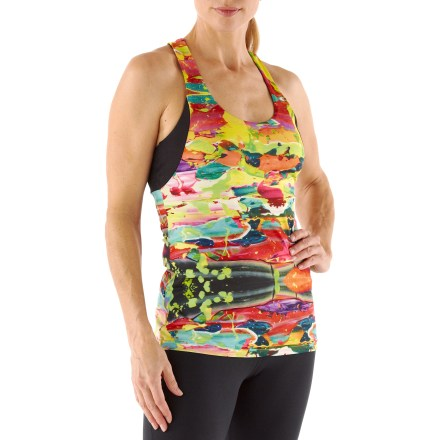 Fitness When you go sleeveless with the ASICS Aleena tank top, cool comfort is yours. Polyester and spandex fabric provides air circulation and moisture management. Internal shelf bra offers light support; mesh panels at sides and back increase breathability. Hidden zippered pocket offers storage for small items and a key. The ASICS Aleena tank top features a reflective logo at left hem and center back to enhance visibility. - $31.93