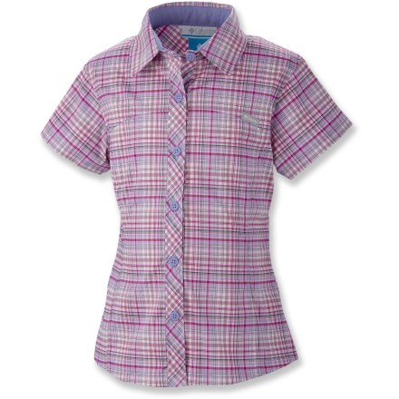 Camp and Hike The Columbia Silver Ridge II Plaid shirt for girls is a go-anywhere, do-anything shirt. She'll look great and you'll feel good about all the features that keep her protected and comfortable. Lightweight, moisture-wicking Omni-Wick(TM) polyester fabric has a touch of stretch; interior mesh lining promotes breathability and helps move moisture away from skin. Quick-drying properties make shirt ideal for wearing while traveling, camping or backpacking; wash it and wear it again in just a few hours. Integrated Omni-Shade(TM) UPF 50+ sun protection guards continuously against harmful ultraviolet rays so her skin stays safe no matter how long her day lasts. Traditional collar and buttoned front give a cute and casual look; short sleeves keep her shoulders covered without inhibiting range of motion or comfort in warm weather. - $20.93