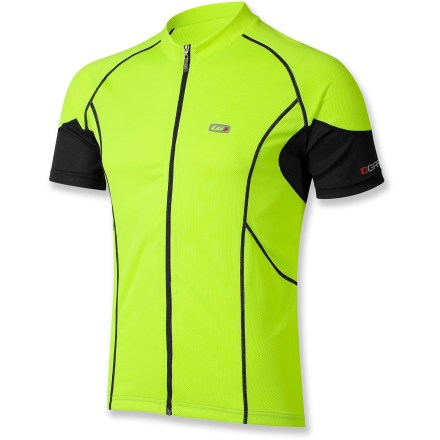 Fitness The Garneau Lemmon bike jersey is perfect for warm, sunny riding days. Mesh on the sleeves and under arms promotoes cooling airflow so you won't overheat. Polyester jersey knit offers the softness of your favorite T-shirt with the properties of a high-tech fabric to enhance breathability and wick moisture away from the body. Full-length zipper lets you easily regulate your body temperature. Fabric provides UPF 50 sun protection, shielding skin from harmful ultraviolet rays. Non-bulky flatlock seams provide chafe-free comfort. 3 elasticized rear pockets expand to store cycling essentials and food; 1 additional angled side pocket offers quick access. Gripper hem keeps Garneau Lemmon bike jersey in place as you move. Front, back and sleeve reflective logos increase your visibility in low light. - $39.93
